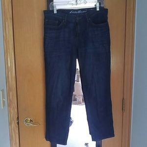 Eddie Bauer size 8 dark boyfriend crop jeans EUC